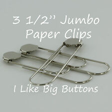 25 SILVER Jumbo / Giant 3 1/2 Inch Bookmarks/Paper Clips/Paperclips w/ Glue Pads