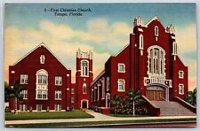 First Christian Church in Tampa, Florida Linen Postcard Unused