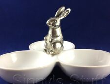 Pottery Barn Silver Aluminum Bunny Triple Condiment Serving Bowl Candy Dish NIB