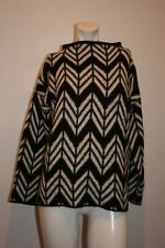 JOAN VASS STUDIO KNIT TOP LONG SLEEVE WHITE /BLACK ACRYLIC/NYLON/WOOL SIZE M