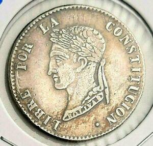 1857 FJ 🔥 BOLIVIA 4 Soles Silver 0.667 ✨ Bolivar Constitution XF+ / AU ✨ KM 123