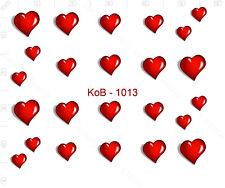 Nail Art Water Transfer Sticker Decal Stickers Pretty 3D Heart Red KoB-1013