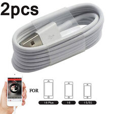 2× USB Cable Charger Sync Cord For iPhone5/5s/5C/6/6plus/iPod/iPad 1M White