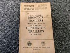 1953 Wwii War Department M7 Amp M18 Generator Trailer Owner Service Repair Manual