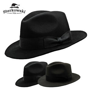 Sterkowski VINCENT Rabbit Fur Felt Fedora Hat Classic Vintage Elegant Bogart