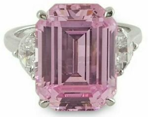 Hollywood Celebrity Inspired Pink Emerald 3-Stone Engagement Ring in 925 Silver
