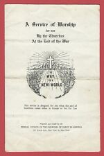(#1) 1945 A Service Of Worship For Use By The Churches At The End Of The War