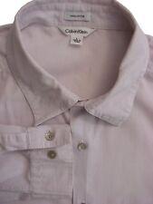 CALVIN KLEIN Shirt Mens 17 L Purple & White Mini Check LIGHTWEIGHT