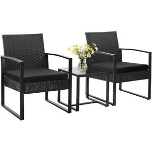 Walnew 3 Pieces Patio Indoor Furniture Cushioned PE Rattan Bistro Chairs Set
