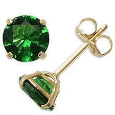 Oro 9ct puede Piedra Aretes Joyas De Color Verde Esmeralda