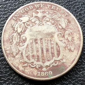 1869 Shield Nickel 5c Higher Grade VF Die Break #28830