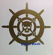 Boat Nautical Decal Pirate Ship Wheel With Skull Jolly Roger Blackbeard Sticker