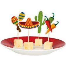 12 FIESTA CUPCAKE PICKS TOPPERS MEXICAN PARTY TABLE DECORATIONS FOOD COCKTAIL