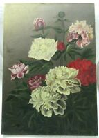 ANTIQUE OIL PAINTING PEONY FLORAL STILL LIFE VICTORIAN FOLK COUNTRY FINE ART