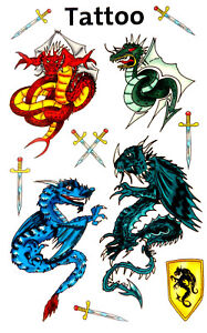 Temporary Dragon Tattoos for children / kids 56404