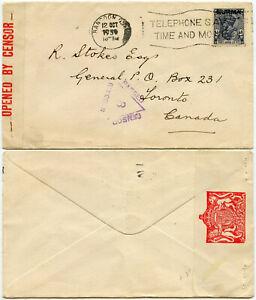 BURMA 1939 CENSOR 3 WW2 to CANADA 3A 6p SINGLE FRANKING