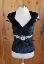 NEXT black stretch crushed velvet floral short sleeve tunic top Steampunk 8 36