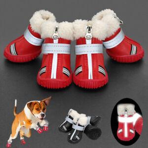 Waterproof Leather Dog Shoes Reflective Warm Fleece Dog Rain Snow Boots Booties