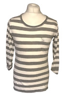 Abercrombie & Fitch Women's Casual T Shirt White Grey Striped Long Sleeve Medium