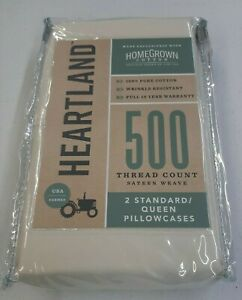 Heartland Homegrown 500 TC Wrinkle Resistant Standard / Queen Pillowcases Ivory
