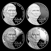 2010 2011 2012 2013 S Jefferson Proof Nickels ~ U.S. Mint Proof ~ Set of Four