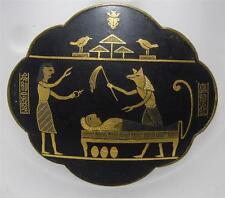 "RARE~Vintage Egyptian Pictoral Scene Scarab Hieroglyphics Pin Brooch  2 1/4"""