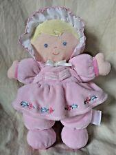 Prestige Soft Baby Doll Plush Pink Dress with Flowers Blonde Hair Blue Eyes