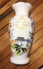 MEMORIAL WHITE BRISTOL GLASS Victorian VASE Enameled RELIGIOUS CROSS FLOWERS