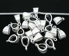 50 Pendant Bails Bead Hangers Bright Silver Silver 5.5mm Hole 14x7mm