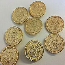 Brass Metal Shield Buttons 22 mm x 3 Buttons