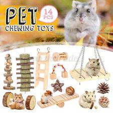 14PCS Wooden Hamster Toys Rabbit Pet Chew Exercise Teeth Care Parrot Climbing