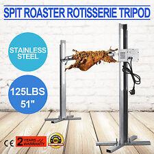 BBQ Rotisserie Grill Spit Roaster Tripod 25W Motor Stainless Steel Pig Chicken