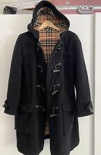 Burberry London Duffle Black Coat Nova Check Wool Womens Size Medium