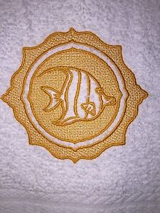 Embroidered  White Bathroom Hand Towel Embossed  w Angel Fish in a Gold Color