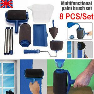 8PCS Paint Runner Pro Roller Brush Set Room Decorating Handle Tools Kits Blue