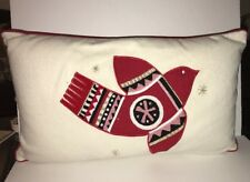 "PROJECT 62 Embroidered Lumbar Bird Toss Pillow 16"" x 26"" NATURAL/RED MULTI NWT"