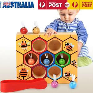 Children Preschool Wooden Bee Clip Leaning Educatinal Toys Montessori Games AU