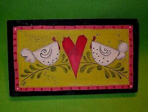 Original painting on board HEN LOVES HEN or CHICKEN HEART CHICKEN. Artist signed