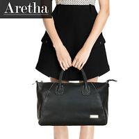 New Aretha Italy Genuine Leather Fashion Women Tote handbags overlight bag Black