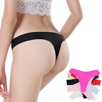 5Pcs Women Sexy G Strings Lot Thongs Seamless Ice Silk Tangas Underwear Panties