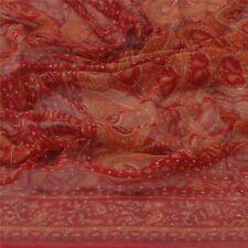 Sanskriti Vintage Dupatta Long Stole Pure Georgette Silk Red Printed Scarves