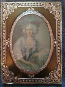 """vintage OVAL picture frame 5.5 x 4"""" ornate wood/tin? With Lady"""