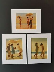 Jack Vettriano Beach Collection Set of 3 Mounted Prints Genuine 2019 NEW