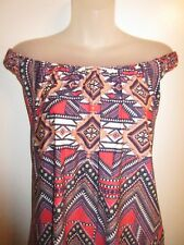 Sky Clothing Brand NWT S Top Off Shoulder Bright Coral Purple Tribal Printed