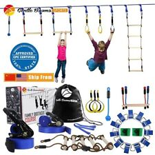 Ninja Warrior Rope Hanging Obstacle Course Set for Kids Slackline Outdoor Playgr