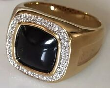 Mens Black Onyx & Diamond Ring Gold Tone Size 13 or Size 7 Available NEW In Box