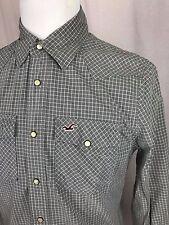 Hollister California Western Pearl Snap Checkered Shirt Long Sleeve Medium A1