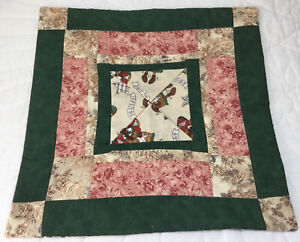 Patchwork Small Quilt, Rectangles, Squares Floral Calico Prints, Happy Holidays
