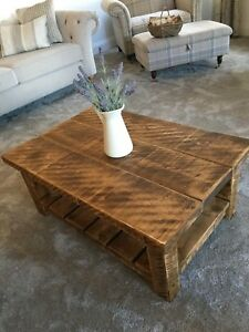 RUSTIC PLANK ~ COFFEE TABLE ~ RUSTIC SOLID FURNITURE ~ MADE TO ANY SIZE