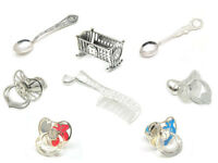 925 sterling silver dummy spoon comb cradle Christening Gift Laser Engraving BOX